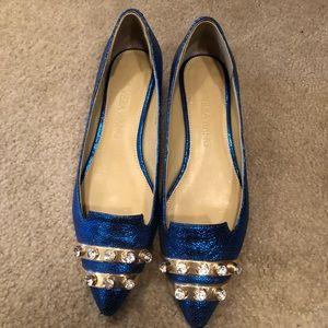 Vera Wang   Shinning Blue Embellished Shoes